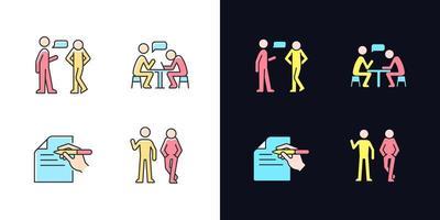 compreensão na comunicação conjunto de ícones de cores rgb tema claro e escuro vetor