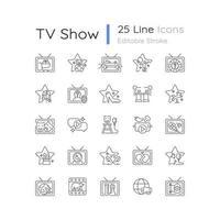 conjunto de ícones lineares do programa de tv vetor