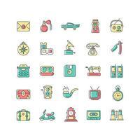conjunto de ícones de cores rgb estilo vintage vetor