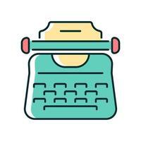 ícone de cor rgb de máquina de escrever vintage vetor