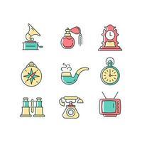 conjunto de ícones de cores rgb de itens retrô vetor