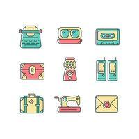 conjunto de ícones de cores rgb de estilo inspirado vintage vetor