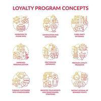 Conjunto de ícones de conceito gradiente vermelho do programa de fidelidade vetor