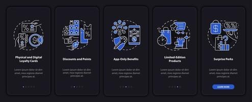 Ideias para programas de fidelidade de supermercados tela escura da página de aplicativos para dispositivos móveis de integração vetor