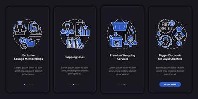 Benefícios do programa de fidelidade tela escura da página do aplicativo para dispositivos móveis de integração vetor
