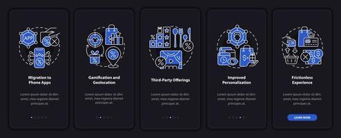 tendências dos programas de fidelidade tela escura da página do aplicativo para dispositivos móveis vetor