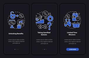 exemplos de programas de fidelidade gamificados tela escura da página de aplicativos para dispositivos móveis de integração vetor
