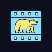 ícone de cor rgb de documentário de vida selvagem para tema escuro vetor