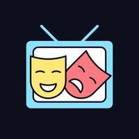 ícone de cor rgb tv drama para tema escuro vetor