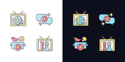 conjunto de ícones de cores rgb de tema claro e escuro da série de tv vetor