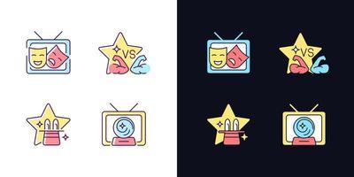 programas de tv gêneros tema claro e escuro conjunto de ícones de cores rgb vetor