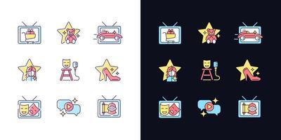 conjunto de ícones de cores rgb de tema claro e escuro de programa de televisão vetor