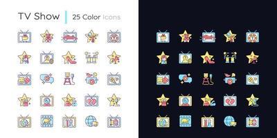 conjunto de ícones de cores rgb de tema claro e escuro do programa de tv vetor