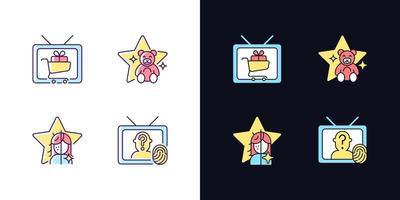 conjunto de ícones de cores rgb com tema claro e escuro da televisão vetor