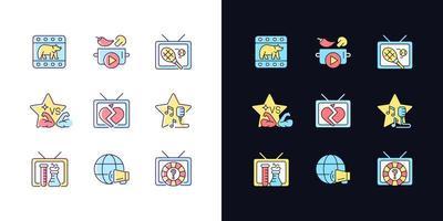 conjunto de ícones de cores rgb de tema tv claro e escuro vetor
