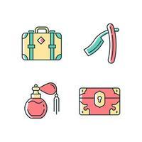 conjunto de ícones de cores rgb coleção vintage vetor