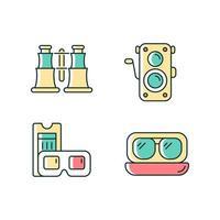 conjunto de ícones autênticos de cores vintage rgb vetor
