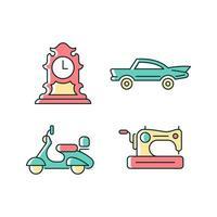 conjunto de ícones de cores rgb de colecionáveis retrô vetor