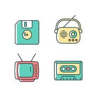 conjunto de ícones de cores rgb de itens vintage colecionáveis vetor