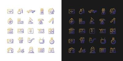 ícones gradientes de estilo vintage definidos para o modo claro e escuro vetor