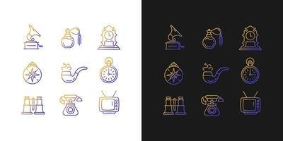 ícones de gradiente de itens retrô definidos para o modo claro e escuro vetor