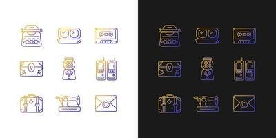 ícones gradientes de inspiração vintage definidos para o modo claro e escuro vetor
