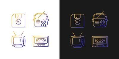 ícones de gradiente de itens vintage colecionáveis definidos para o modo claro e escuro vetor