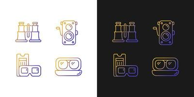 ícones gradientes vintage autênticos definidos para o modo claro e escuro vetor