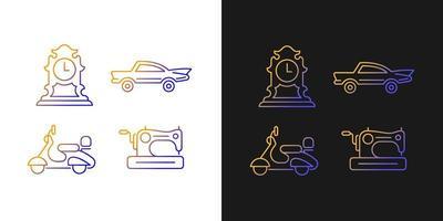 Ícones de gradiente retro colecionáveis definidos para o modo claro e escuro vetor