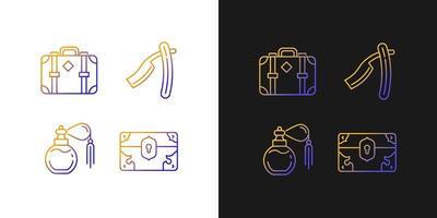 Ícones de gradiente de coleção vintage definidos para o modo claro e escuro vetor
