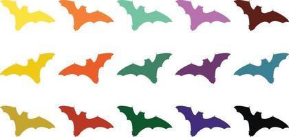 vetor dos morcegos coloridos
