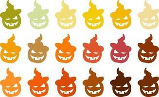 vetor da abóbora colorida de halloween com chapéu