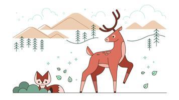 Vetor de cervos de montanha