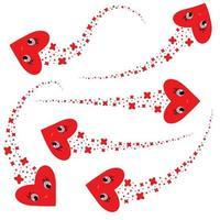 um conjunto de fluxos de vôo abstratos de corações de desenhos animados de cor vermelha. ilustração em vetor plana simples isolada no fundo branco.