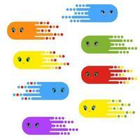 um conjunto de personagens fantásticos voadores de cores brilhantes. ilustração em vetor plana simples isolada no fundo branco.