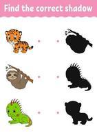 encontre a sombra correta. planilha de desenvolvimento de educação. jogo de correspondência para crianças. página de atividades. quebra-cabeça para crianças. enigma para a pré-escola. personagem fofinho. ilustração isolada do vetor. estilo de desenho animado. vetor