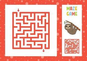 labirinto engraçado. jogo para crianças. quebra-cabeça para crianças. personagem feliz. enigma do labirinto. ilustração do vetor de cor. encontre o caminho certo. com resposta. ilustração isolada do vetor. estilo de desenho animado.