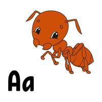 alfabeto engraçado. cartões flash abc. personagem de desenho animado bonito isolado no fundo branco. para a educação de crianças. planilha de desenvolvimento. aprender letras. ilustração vetorial. vetor