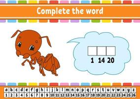 complete as palavras. código cifrado. aprender vocabulário e números. planilha de desenvolvimento educacional. página de atividades para estudar inglês. jogo para crianças. ilustração isolada do vetor. Personagem de desenho animado. vetor