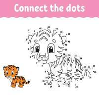 ponto a ponto. Desenhe uma linha. prática de caligrafia. aprender números para crianças. planilha de desenvolvimento de educação. página para colorir de atividades. jogo para criança. ilustração isolada do vetor. estilo de desenho animado. vetor