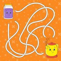 Labirinto. jogo para crianças. labirinto engraçado. planilha de desenvolvimento educacional. quebra-cabeça para crianças. página de atividades. enigma para a pré-escola. personagem de desenho bonito. enigma lógico. ilustração do vetor de cor.