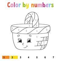 cor por números. livro de colorir para crianças. personagem alegre. ilustração vetorial. estilo bonito dos desenhos animados. desenhado à mão. página de planilha para crianças. isolado no fundo branco. vetor
