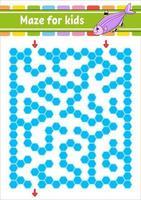 Labirinto. jogo para crianças. labirinto engraçado. planilha de desenvolvimento educacional. página de atividades. quebra-cabeça para crianças. enigma para a pré-escola. estilo bonito dos desenhos animados. enigma lógico. ilustração do vetor de cor.