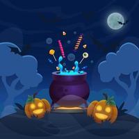 pote mágico de bruxa na floresta da colina. cartoon ilustração de halloween com abóboras de banner. céu noturno de lua cheia com morcegos voando. vetor