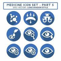 definir vetor de ícone da parte 5 do medicamento - estilo sombra longa