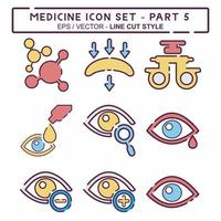 definir vetor de ícone de medicamento parte 5 - estilo de corte de linha