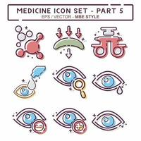definir vetor de ícone da parte 5 do medicamento - estilo mbe