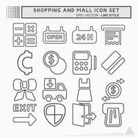 definir vetor de ícone de shopping e shopping - estilo de linha