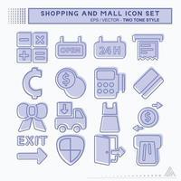 definir vetor de ícone de shopping e shopping - estilo de dois tons