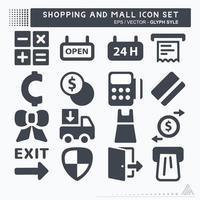 definir vetor de ícone de shopping e shopping - estilo glifo